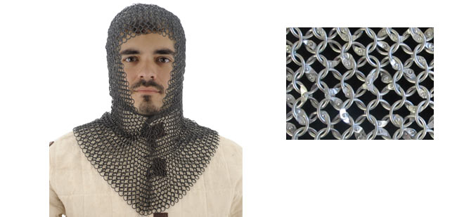 Aluminum Chainmail Coif, Squire Grade