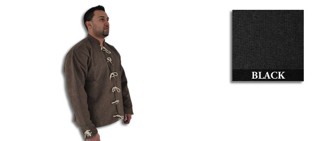 15th C Doublet, Wool/Cotton, Black