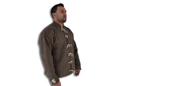 15th C Doublet, Wool/Cotton, Natural Brown