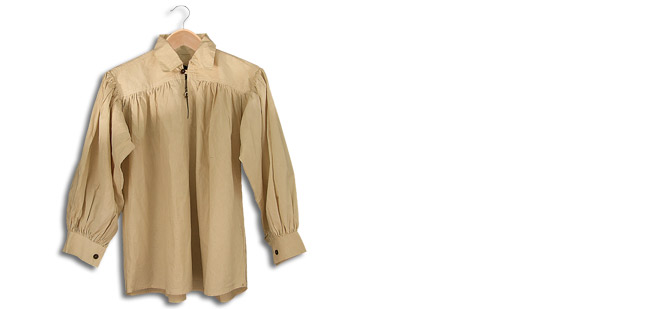 Cotton Shirt, Collared, Button Neck, Natural