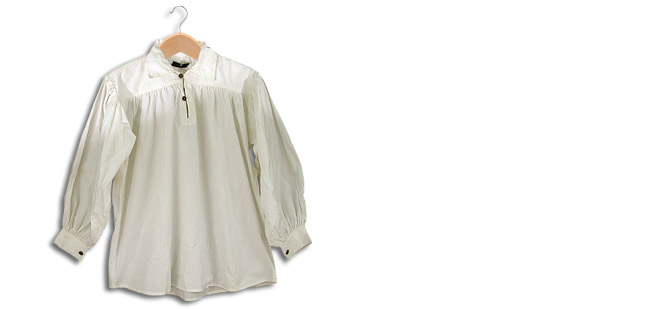 Cotton Shirt, Collared, Button Neck, White