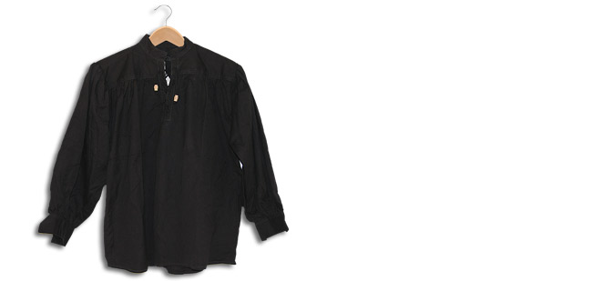 Cotton Shirt, Collarless, Laced w/Toggles Black