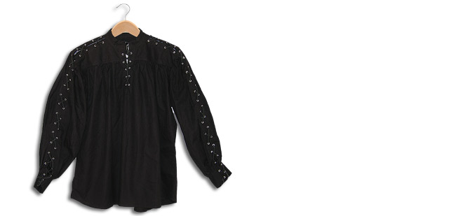 Cotton Shirt, Collarless, Laced Neck&Sleeves, Black