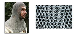 Chainmail Coif, Page Grade, Full Mantle, Square Face Code 10