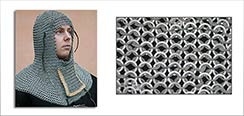 Chainmail Coif, Baron Grade, w/Ventail, Down to Up