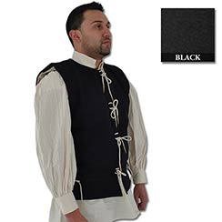 Waistcoat, 15th C, Wool/Cotton, Black