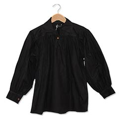Cotton Shirt, Collared, Button Neck, Black