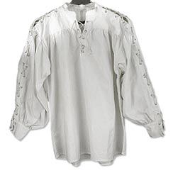 Cotton Shirt, Collarless, Laced Neck&Sleeves, White