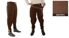 Pants with Ankle Lacing, Brown Medium