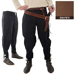 Pants with Ankle Lacing, Brown
